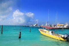 Isla Mujeres Mexico boats turquoise Caribbean sea Stock Photos