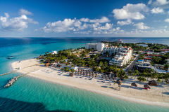 Isla Mujeres Mexico Caribbean Beach - Drone Aerial Photo. Clear turquoise water and bright white sand beaches on the North End of Isla Mujeres, Quintana Roo Stock Images