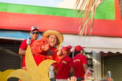 ISLA MUJERES, QR, MEXICO - FEB 11, 2018: Exuberant man performing on a float in a local celebration parade in the main royalty free stock images