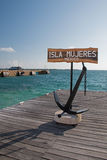 Isla Mujeres Welcome Anchor / Sign on ferry dock Royalty Free Stock Photo