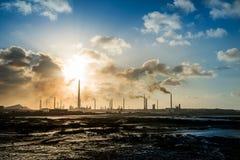Isla Oil Refinery Curacao - poluição Imagem de Stock