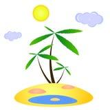 Isla perdida con tres palmas y un oasis ilustración del vector