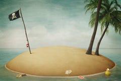 Isla, piratas, aventura y mar ilustración del vector