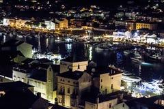 Isla Rab en la noche de la torre Croacia Fotos de archivo