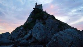Isla rocosa mística cubierta en pájaros metrajes