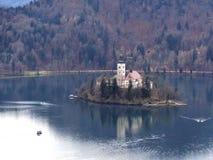Isla sangrada en Eslovenia Foto de archivo libre de regalías