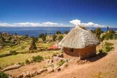 Isla Taquile在秘鲁 库存图片