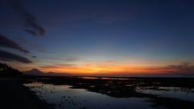 Isla trawangan de Bali de la puesta del sol Foto de archivo libre de regalías