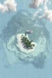 Isla tropical con el barco Foto de archivo libre de regalías