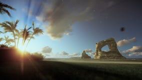 Isla tropical con la mujer que corre en la playa, niebla de la mañana ilustración del vector