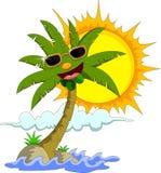 Isla tropical con la palmera y el sol de la historieta Fotografía de archivo
