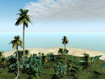 Isla tropical con la playa ilustración del vector