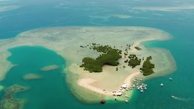 Isla tropical con la playa arenosa Palawan, Filipinas almacen de metraje de vídeo