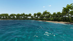 Isla tropical con la playa y el mar Imágenes de archivo libres de regalías
