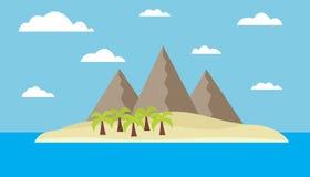 Isla tropical con las montañas Foto de archivo libre de regalías