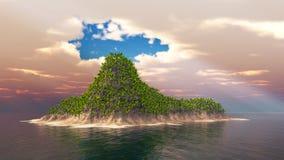 Isla tropical con las palmas