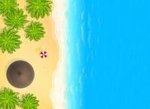 Isla tropical con las palmeras, el tejado del chalet, el parasol de playa y el barco Fondo del cartel del vector ilustración del vector