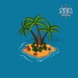 Isla tropical con las palmeras, los cangrejos y la estrella de mar Trópico en estilo isométrico Juego móvil Fotos de archivo