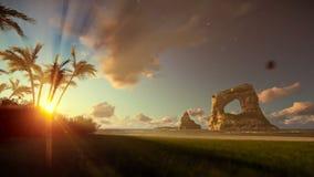 Isla tropical con las palmeras y las rocas en el océano en la salida del sol almacen de metraje de vídeo