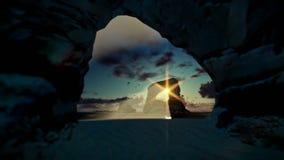 Isla tropical con las rocas en el aterrizaje del océano y de aviones, salida del sol hermosa metrajes