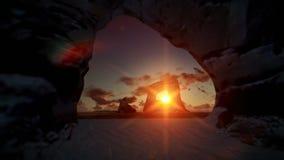 Isla tropical con las rocas en el océano, salida del sol del timelapse almacen de metraje de vídeo