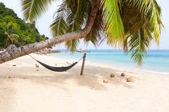 Isla tropical de la playa de la palmera de la hamaca Imágenes de archivo libres de regalías