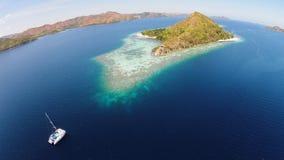 Isla tropical de la visión superior Foto de archivo