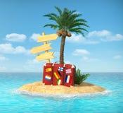 Isla tropical del desierto con la palmera, Fotografía de archivo