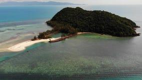 Isla tropical en el mar Opini?n maravillosa del abej?n de la isla tropical verde en centro del mar azul tranquilo con los corales almacen de metraje de vídeo