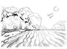 Isla tropical en el océano con con las altas montañas, ejemplo exhausto de la mano stock de ilustración