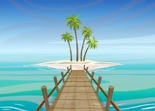 Isla tropical en el océano con el puente de madera, libre illustration