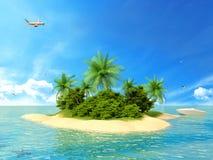Isla tropical en el océano con un barco y un avión Fotos de archivo