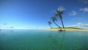 Isla tropical en el océano de la turquesa libre illustration