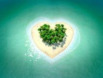 Isla tropical en la forma de corazón Imagenes de archivo