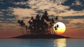 Isla tropical en la puesta del sol Imágenes de archivo libres de regalías