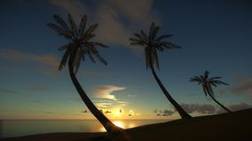 Isla tropical en la puesta del sol asombrosa libre illustration