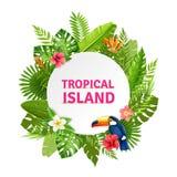 Isla tropical Flora And Toucan Frame Imágenes de archivo libres de regalías