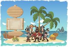 Isla tropical hermosa con los piratas de la historieta Imagenes de archivo