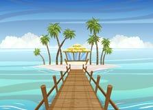 Isla tropical idealista, puente de madera a la casa de la casa de planta baja stock de ilustración