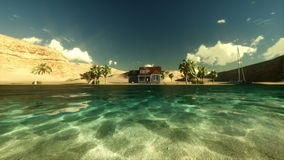 Isla tropical, par en la casa de vacaciones, salida del sol del lapso de tiempo libre illustration