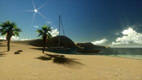 Isla tropical, par en la playa en la casa de vacaciones, mosca de la cámara, salida del sol ilustración del vector