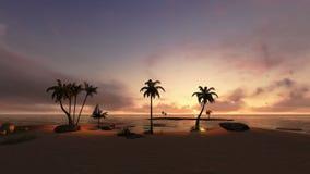 Isla tropical y navegación del yate en la puesta del sol, toma panorámica de la cámara libre illustration