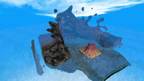 Isla volcánica que sube de debajo el océano almacen de metraje de vídeo