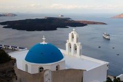 Isla volcánica de Santorini en la salida del sol Fotografía de archivo
