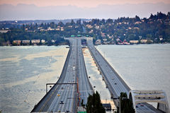 Isla Washington del sedero de Seattle del puente I-90 Fotografía de archivo