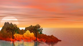 Isla y árboles Foto de archivo