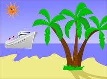 Isla y nave de desierto Imagen de archivo