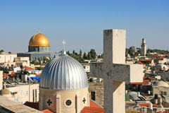 Islam and christianity in Jerusalem. Royalty Free Stock Image