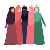 Islam d'uso della gente di velo della donna musulmana insieme bello e delle ragazze di amicizia insieme immagini stock libere da diritti