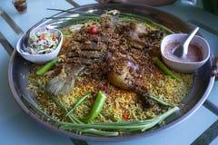Islam de la comida de la cena del Ramadán del arroz de Biryani, concepto: Comida cocinada deliciosa del hyderabadi para la gente  foto de archivo